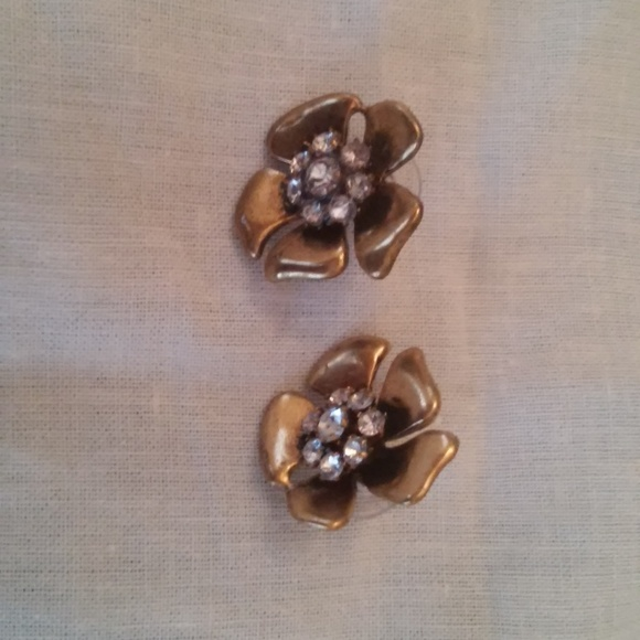 J. Crew Antique Gold and Crystal Flower Earrings